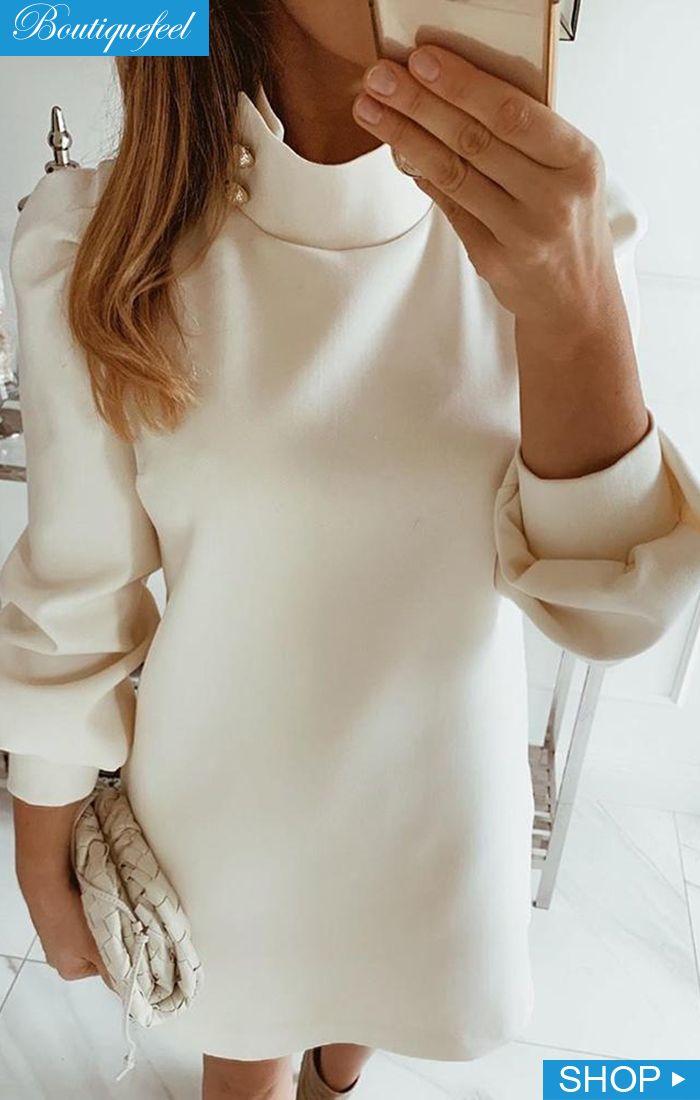 Solid High Neck Mini Dress