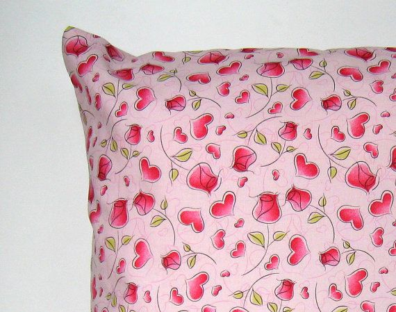 Hearts and Roses Pillow Cover Heart Pillow Cover Romantic Pillow