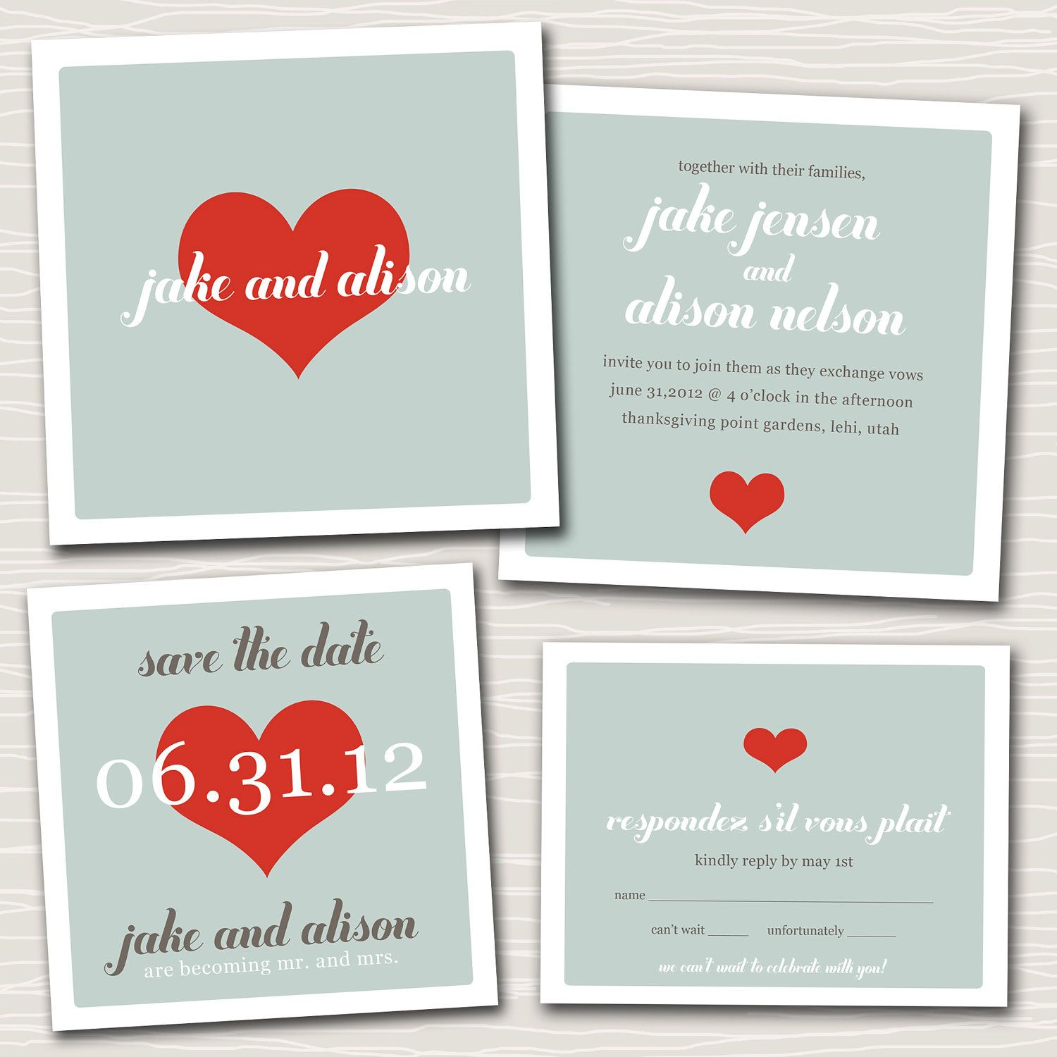 Wedding invitation suite design  lots of love. by westwillow