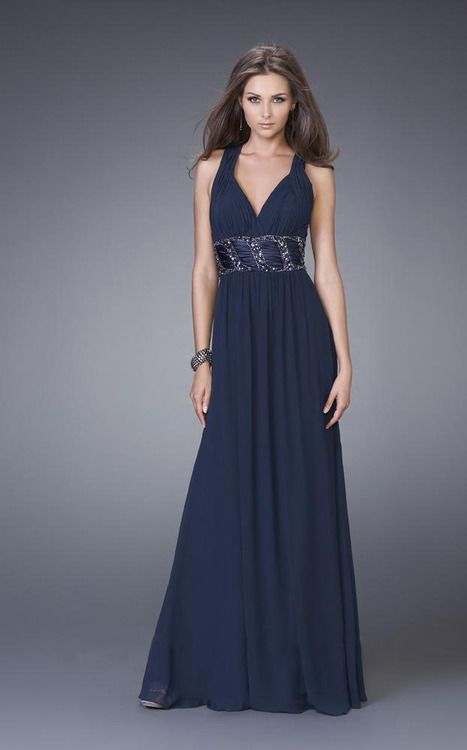 91002c2c865 La Femme - 15064 Bead Embellished Halter Neck A-line Dress ...