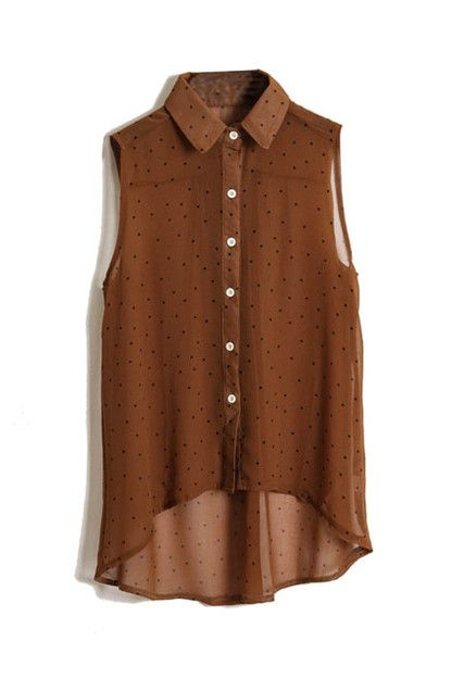 Dots Printed Dark Coffee Chiffon Shirt [NCSHM0219] - $21.99 : ($20-50) - Svpply