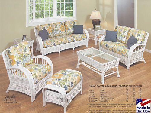 Kona Whitewash Sunroom Set And Individual Pieces By