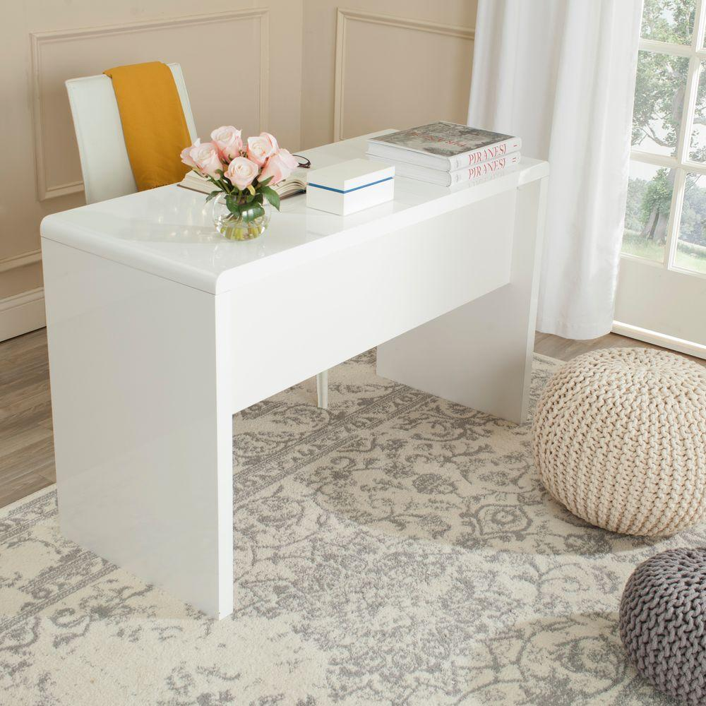 Safavieh Kaplan White Desk FOX2201A Modern white desk
