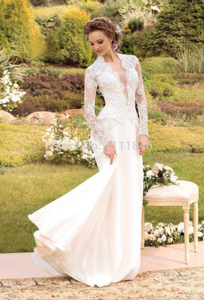 fc17ff525b75 Barato Romântico com decote em v apliques fino vestido de noiva Vintage  mangas compridas personalizado ocidental país vestido de noiva 2015  vestidos de ...
