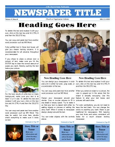 A front page Church template Try this 11 - newspaper headline template