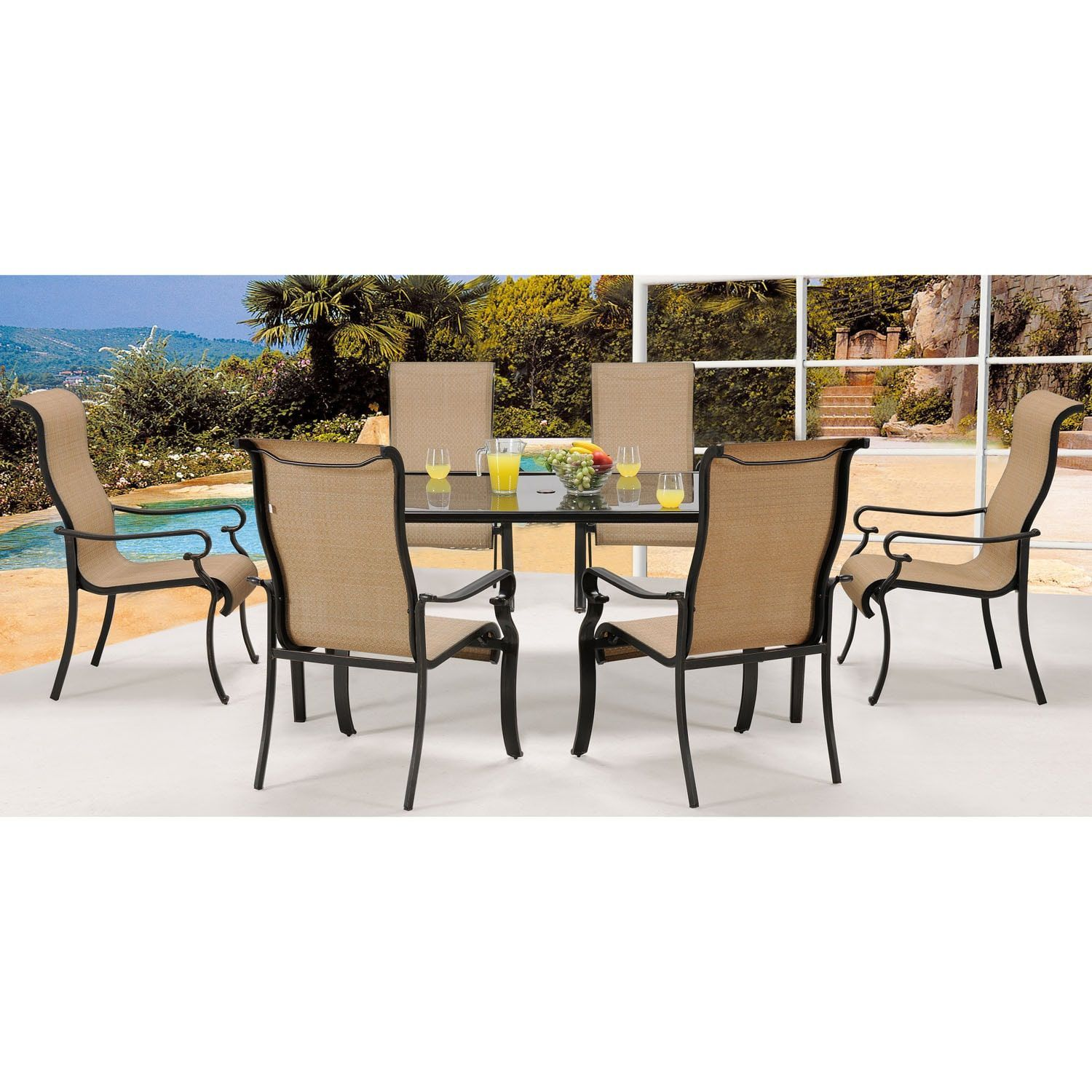 Cambridge hammond beige aluminum 7 piece outdoor dining set tan size 7 piece sets patio furniture