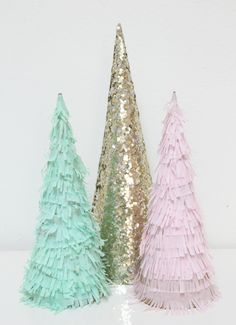 Materials Cardboard Cones Tissue Paper Fringe Scissors Double Sided Tape Or Glue I Used Double Sided Diy Christmas Tree Christmas Decorations Christmas Diy