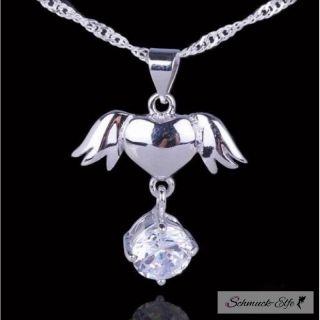 Silber Anhänger Engel Herz mit Zirkonia  inkl....