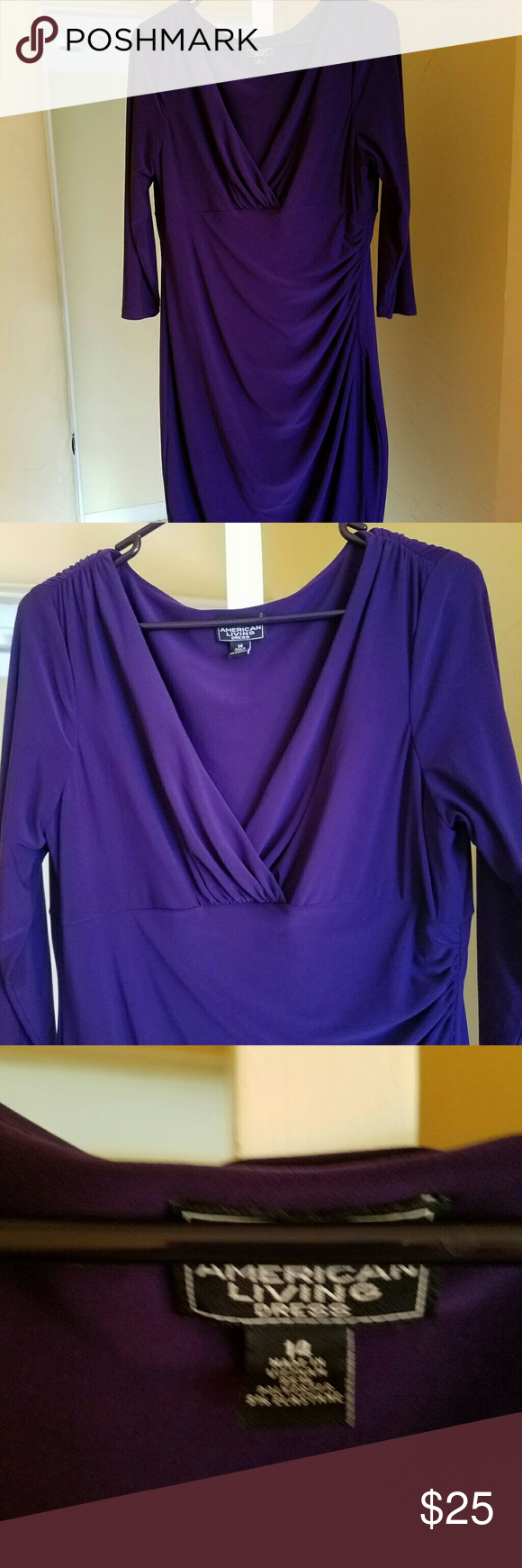 Draped purple dress Gorgeous! Super comfortable and in immaculate condition! American Living  Dresses