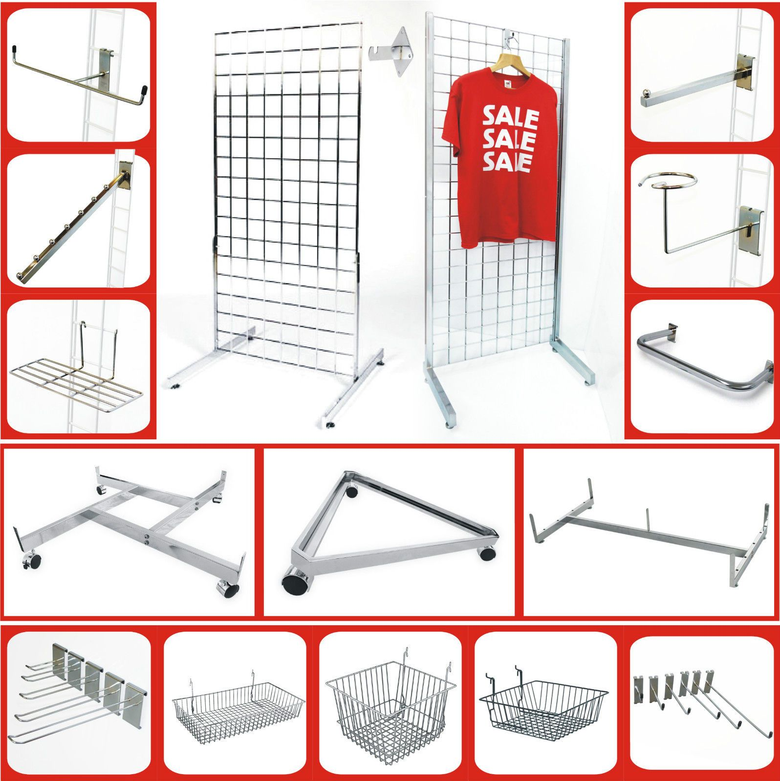 Details About Gridwall Panel Grid Wall Mesh Hooks Prongs