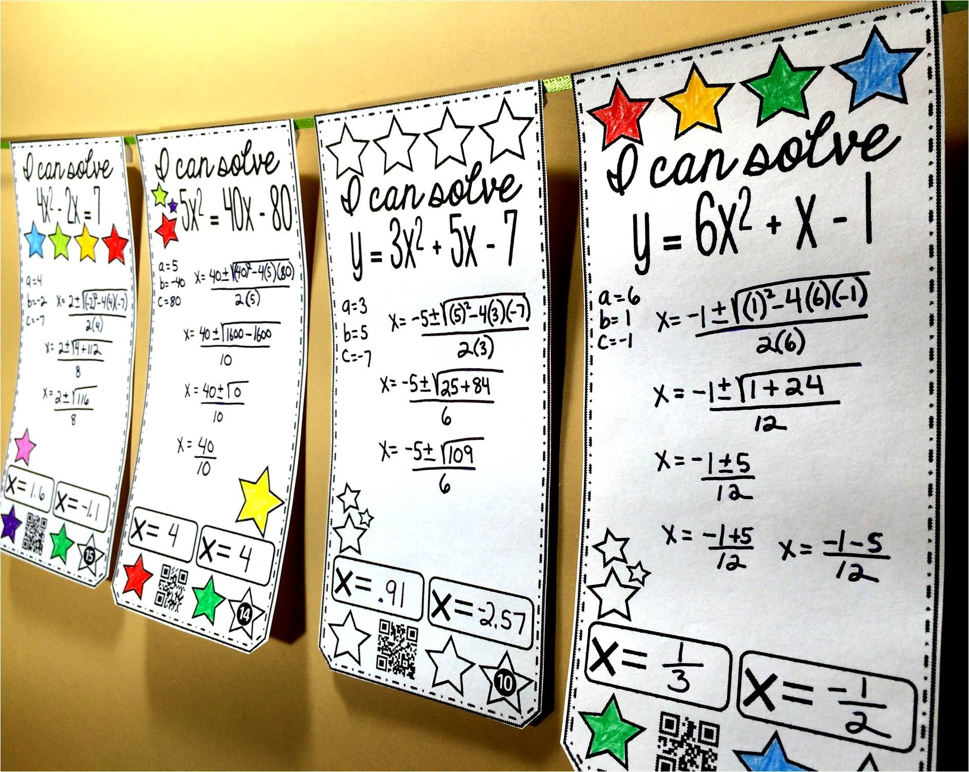Quadratic Formula Math Pennant Activity
