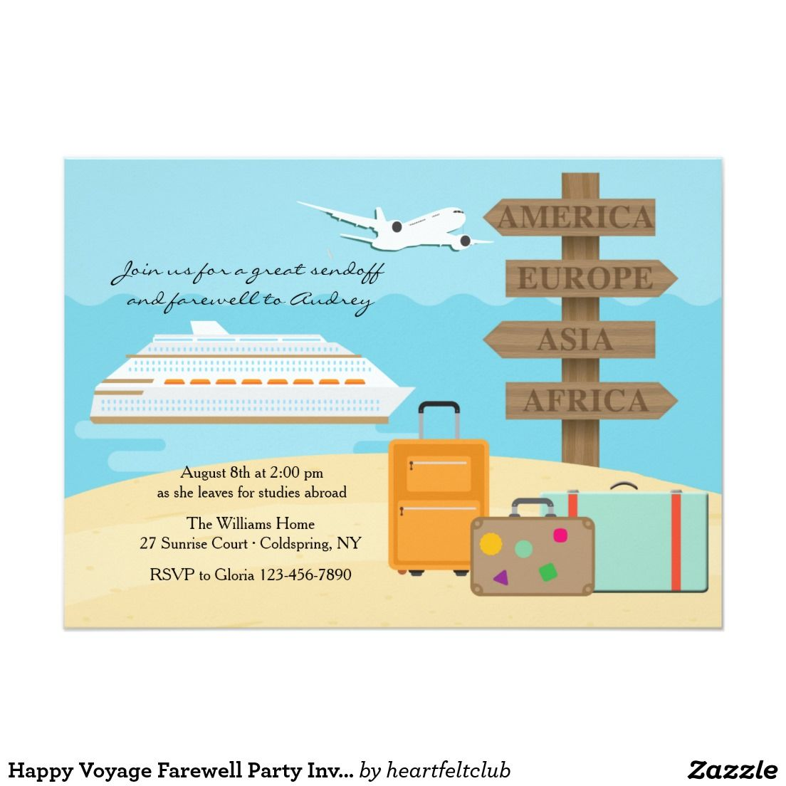 Happy Voyage Farewell Party Invitation | Retirement Parties ...