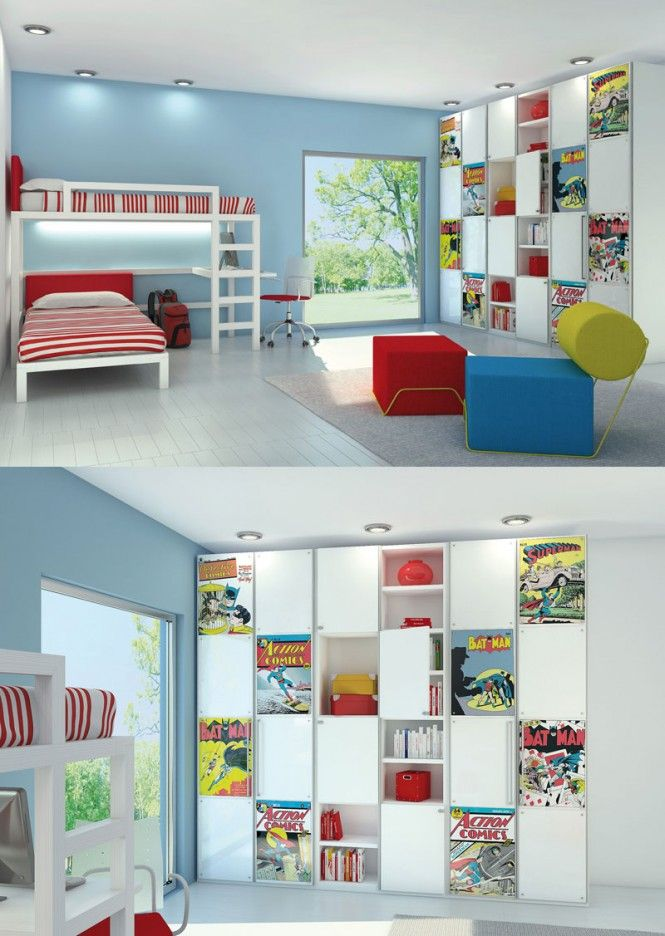 Awesome kids rooms with poster print panels in the closet doors allows the decor to