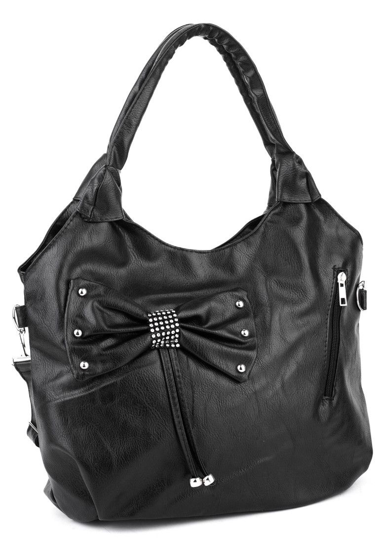 Diamante Bow Faux Leather Handbag