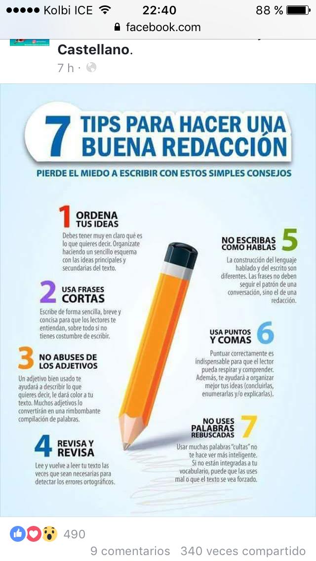 7 Tips Para Una Buena Redacción Learning Spanish Learning Spanish For Kids Learning Apps