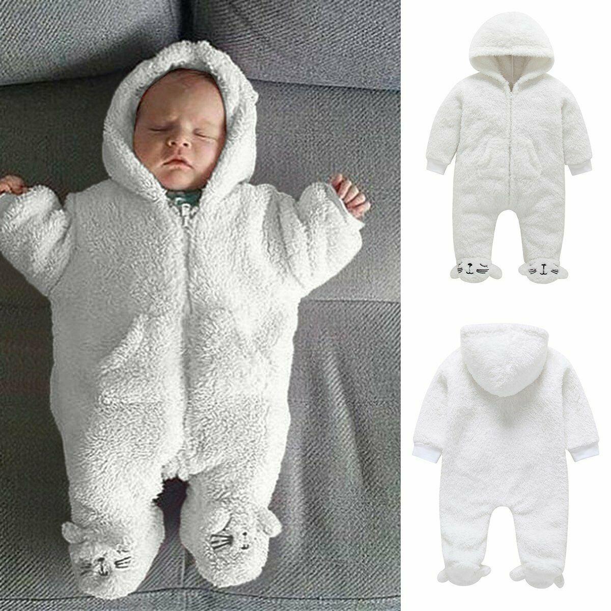 Infant Boys Girls Winter Hooded Romper Jumpsuit Bodysuit Fleece Warm Clothes