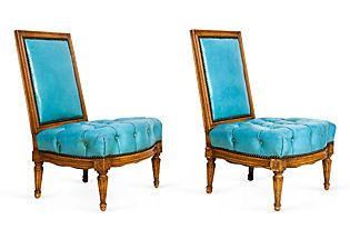 Kelly Wearstler: Modern Glamour. Low Turquoise Chairs, Pair
