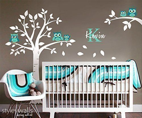 Handmade Nursery Owls Tree Wall Decal And Branch For Baby Room Décor