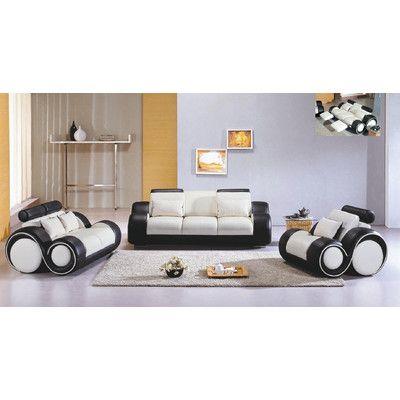 Hokku Designs Hematite 3 Piece Leather Sofa Set Wayfair White