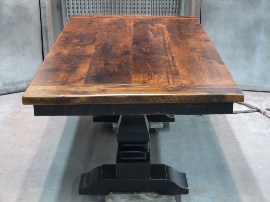 reclaimed hemlock threshing floor pedestal table with black base