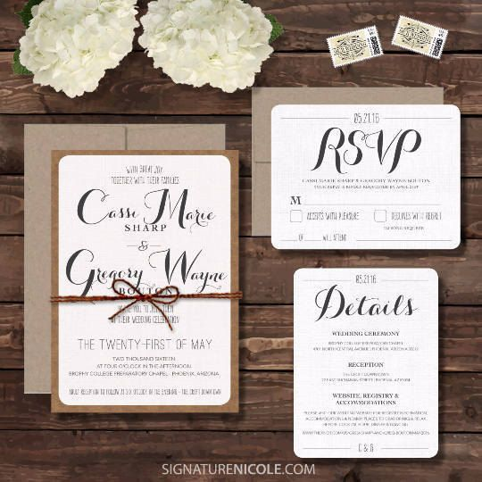 Rustic Wedding Invitation Embled With Rsvp And Detail Cards Set Of 10 Quick Delivery Script