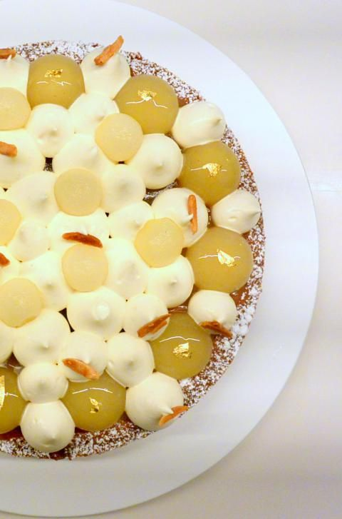 Tarte poire amande nappage chocolat