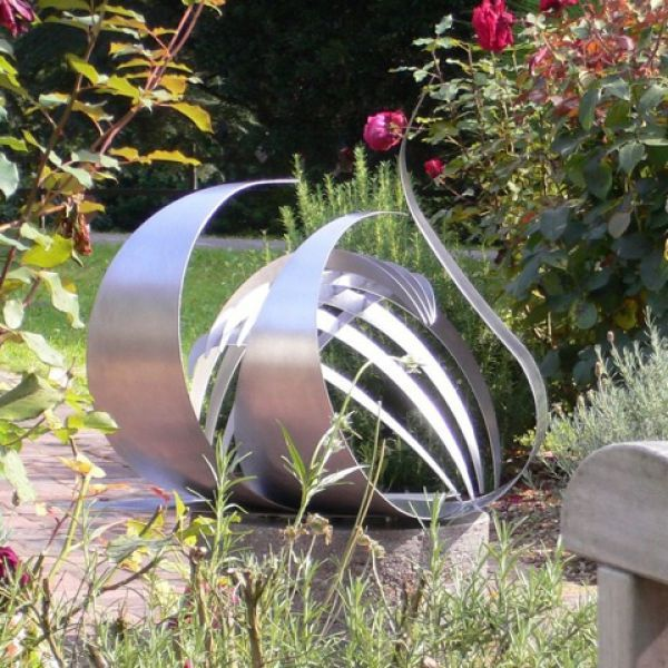 stainless steel by jane clarke titled symbiosis i stainless steel abstract garden sculpture