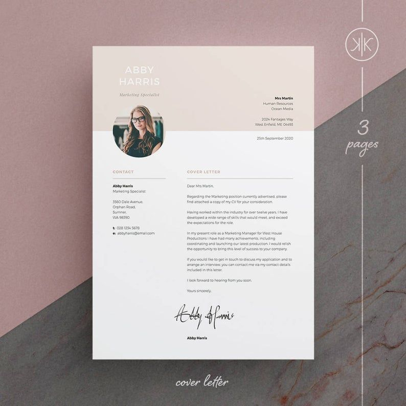 Abby Resume/CV Template Word InDesign Etsy in