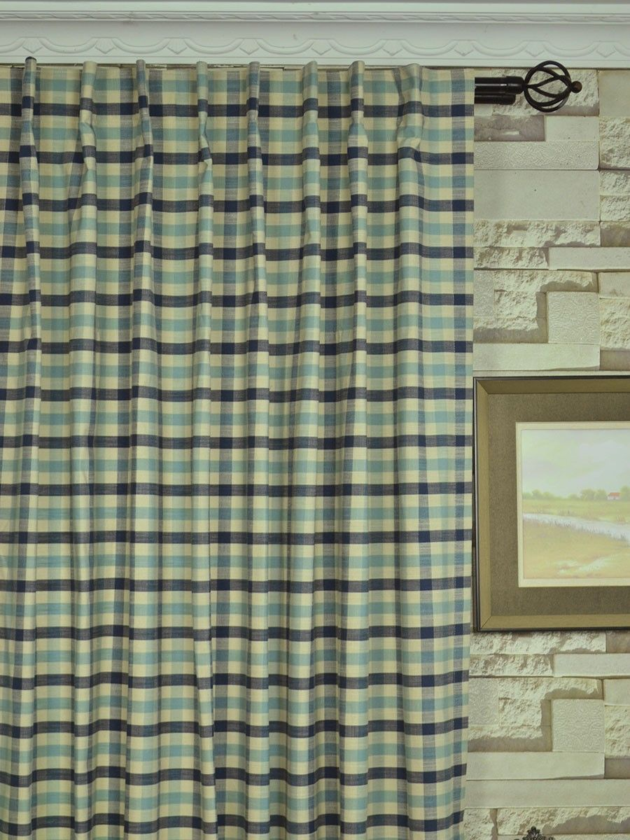 Extra Wide Hudson Small Check Back Tab Curtains 100