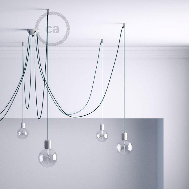 Kit de décentralisation, crochet au plafond transparent pour câble électrique textile avec arrêt ...