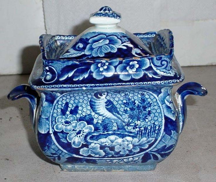 flow blue sugar bowl   Antique Staffordshire Historical Dark Flow Blue Sugar Bowl ...   SORT