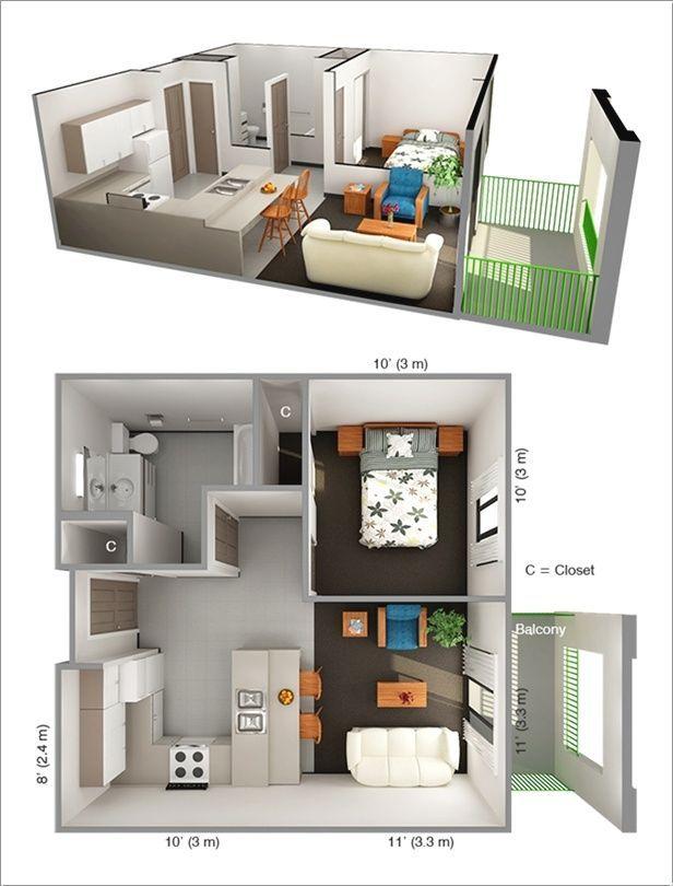 Apartments Mit Einem Schlafzimmer #apartmentfloorplans