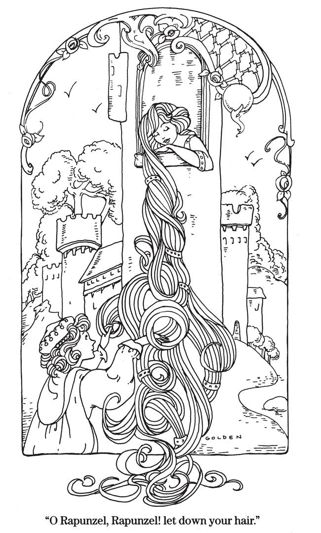 Rapunzel colouring sample page @ Dover Publications | Fairy Tales ...