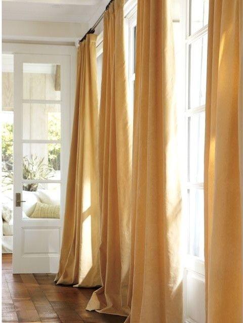 Beautiful Velvet Drape Mustard Yellow Curtains With Slight Puddling.