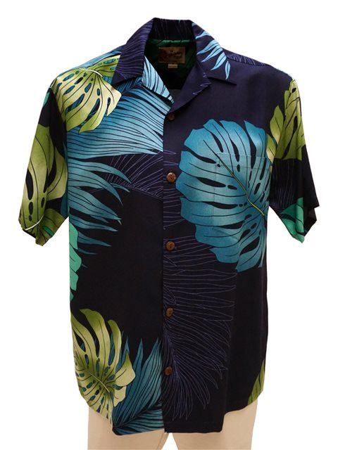 3e244cb8 Hilo Hattie Hilo Hattie Monstera Palm Fronds Navy Rayon Men's Hawaiian Shirt