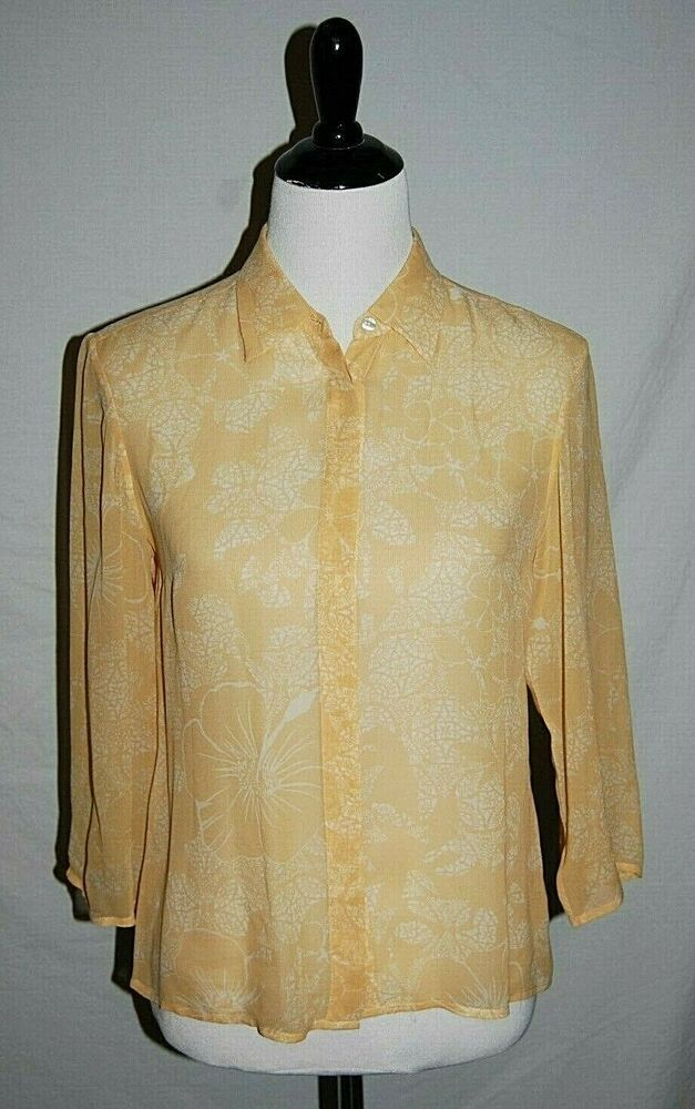 cd2ab78c1 Tommy Bahama Womens sz 6 Yellow Floral Silk 3/4 Sleeve Blouse Shirt Top # TommyBahama #Blouse #Versatile