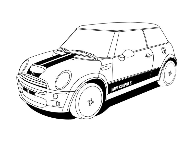 mini cooper panel coloring pages - photo#24