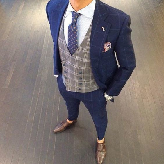 Men's Navy Check Suit, Grey Check Waistcoat, White Dress Shirt, Dark Brown  Leather Double Monks