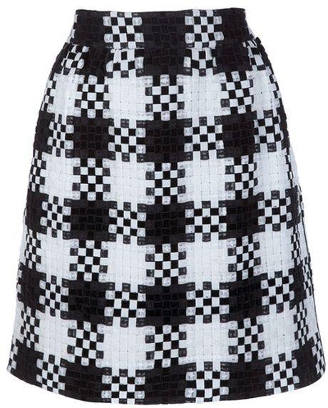 Valentino Checkered Skirt in Black - Lyst
