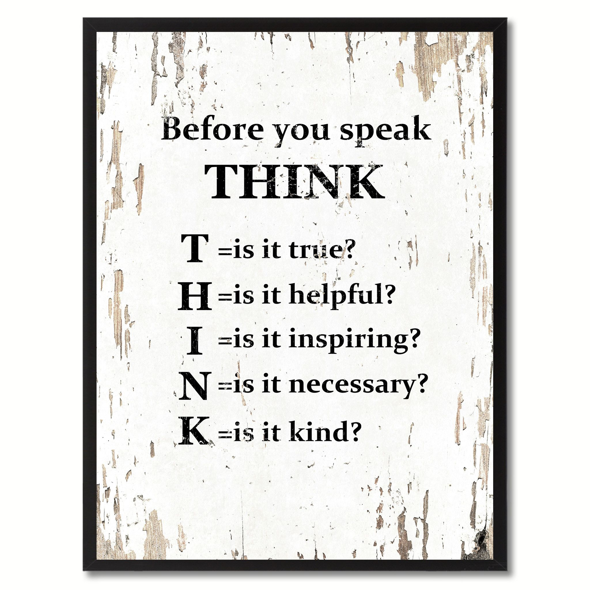Before You Speak Think Saying Canvas Print Black Picture