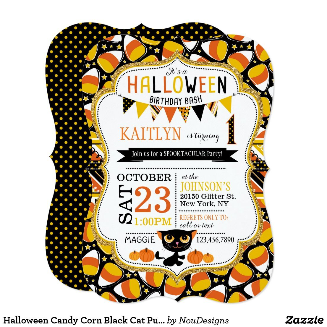 Halloween Candy Corn Black Cat Pumpkins Birthday