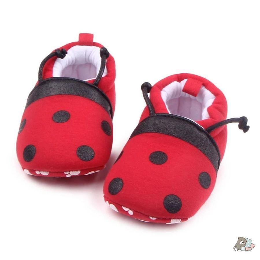 Newborn Baby Soft Crib Shoes Toddler Boy Girl Cartoon Ladybug Anti Slip Sneakers
