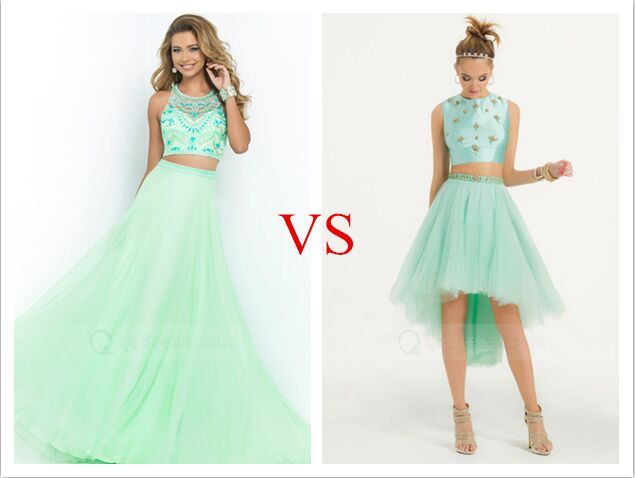 Two Piece Long vs Short Prom Dress - Mint Green | Prom Dresses 2017 ...
