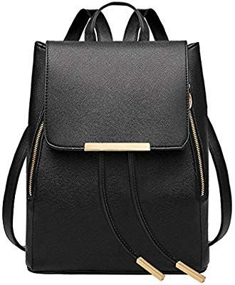 autentico b5d3e 3845c Black Leather Backpack,Coofit Ladies Backpack for Women ...