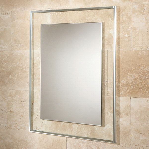 HIB Bala Rectangular Bathroom Mirror With Clear Glass Frame And Border W700 X H900mm