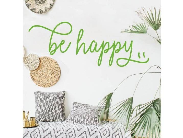 Bilderwelten Wandtattoo »be happy«, bunt, gelb
