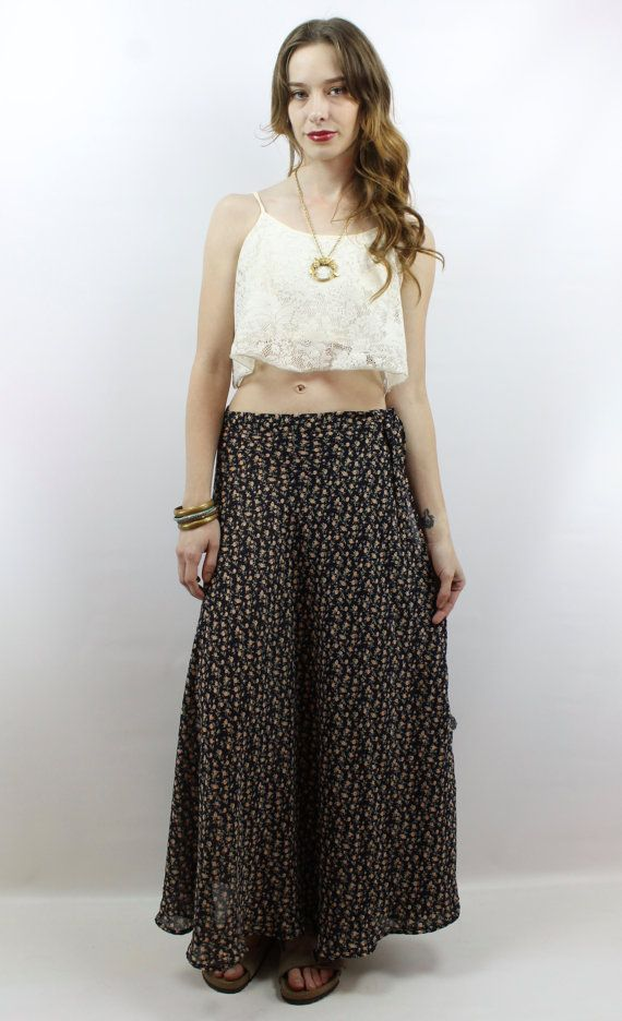 415cbeb4 Vintage 90s Soft Grunge Black Floral Maxi Wrap Skirt, fits M/L best by  shopEBV on etsy