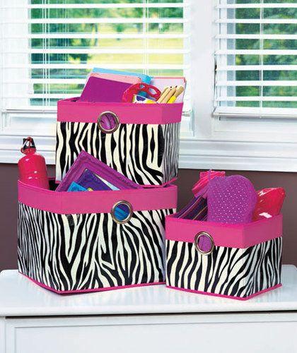 Set Of 3 Zebra Animal Print Open Storage Bins Girls Bedroom Decor Pink Accents Pink Girls Bedroom Decor Zebra Room Zebra Bedroom