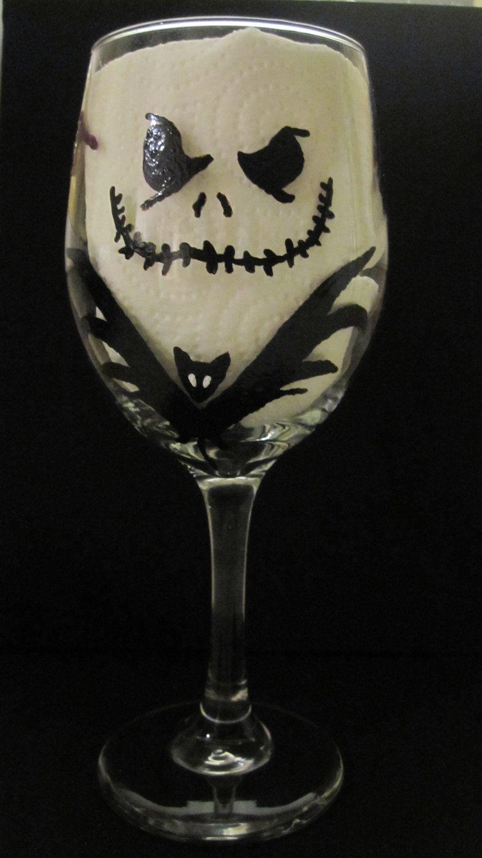 Nightmare Before Christmas Wine Glass | My Style | Pinterest ...