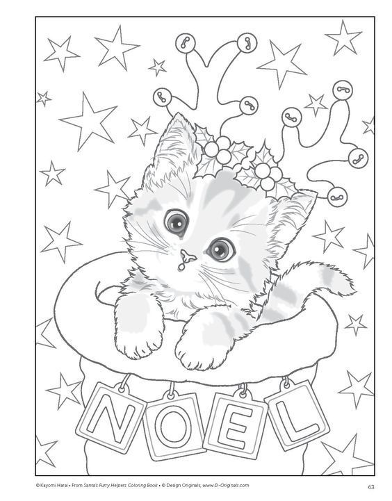Cute Kitten Coloring Page For Kids For Christmas Coloring Coloringpage Kitty Coloring Disney Coloring Pages Christmas Coloring Sheets